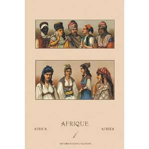 Traditional Dress of Northern Africa #1 by Auguste Racinet 12x18