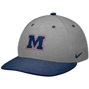 Nike Mississippi Rebels Gray Navy Blue Baseball Authentic 643 Fitted