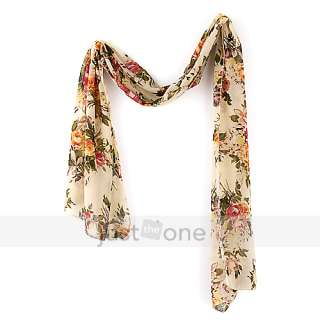 Vintage Charm Chic Womens Ladies Girls Flower Print Soft Chiffon Wrap