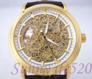 Luxury Gold Skeleton Mechanical Mens Self Winding Watch