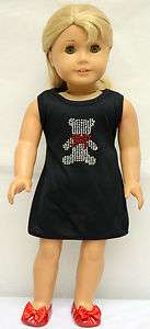 fit AG & 18 Doll   cotton dress with rhinestones bear pattern
