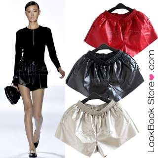Metallic Faux Leather High Waist Side Pocket Wide Cut Leg Mini Shorts