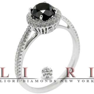 12 CARAT BLACK DIAMOND ENGAGEMENT RING VINTAGE STYLE 18K WHITE GOLD
