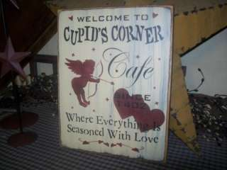 PRIMITIVE VALENTINE SIGN~~CUPIDS CORNER CAFE~~LOVE~~
