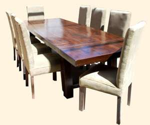 Formal 9 pc Wood Extension Dining Table Fabric Padded Seat Chair Set