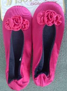 Rosette Isotoner Ballet Satin Slipper RUBY Deep RED 022653678344