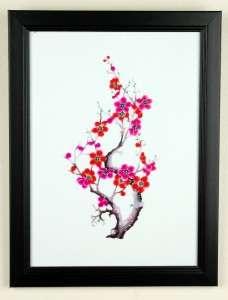 FRAMED PAPER CUT CHERRY BLOSSOM Wall Art Chinese Sakura