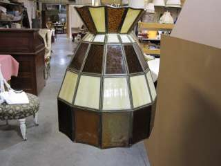 Vintage Oval Stained Glass Hanging Lamp w Brass Chain