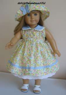 DOLL CLOTHES fits American Girl Dress & Hat BUTTERFLY