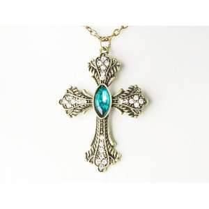 Vintage Inspired Gold Tone Blue Sapphire Cross Hanging Style Pendant