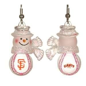 Francisco Giants MLB Snowman Baseball Earrings (1)