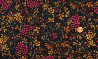 SALE  35 AUTUMN BERRIES & VINES ON NAVY QUILT FABRIC