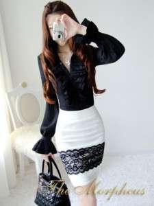 Black Designer Vintage Lady Ruffle Collar Shirt/top