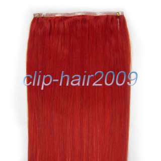 20 inch long PU skin weft remy human hair 36 wide, 55gr #Red
