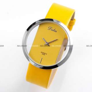 Women PU Leather Transparent Dial Yellow Fashion Watch Gift