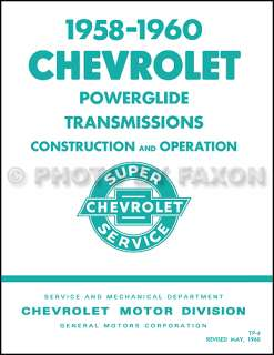 1958 1959 1960 Chevy Powerglide Transmission Service Training Manual