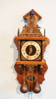 Antique Dutch Zaandam Zaanse wall clock   big model!   25 inch! FREE