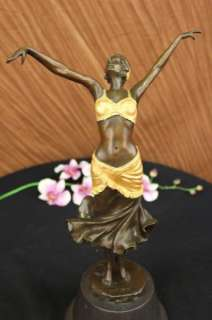 Signed Art Deco Dancer by Philippe Bronze Marble Statue Figurine Art