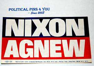 Campaign pin pinback button sticker RICHARD NIXON 1968