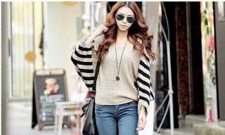 Fashion Lady Loose Style Stripe Bat wing Sleeve Knit Tops Knitwear