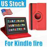 360 Rotating Leather Case Cover Stand Pink for  Kindle Fire 7