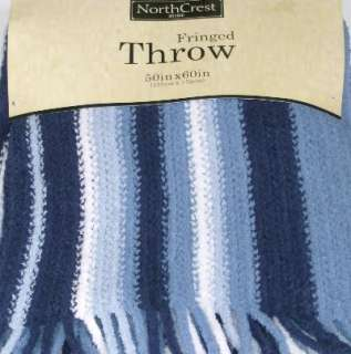 Blue White Stripe Super Soft Micro Plush Throw Blanket