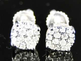 CT WHITE GOLD MENS LADIES CLUSTER ROUND CUT DIAMOND STUD EARRINGS