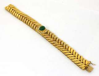 EYE CATCHING 18K GOLD, DIAMONDS & EMERALD BRACELET