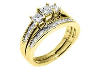 WOMENS DIAMOND ENGAGEMENT RING WEDDING BAND BRIDAL SET 3 STONE