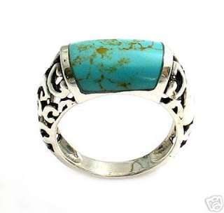 Sterling Silver Thin & Elegant Turquoise Ring A1613