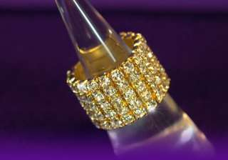 Row Rhinestone Gold Plated Choker Bracelet Ring Set