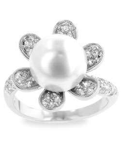 Silvertone Pink Faux Pearl Flower CZ Ring