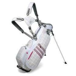 Adidas Womens White/ Pink Plaid Stand Bag