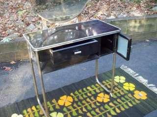 Vanity Dressing Table w/ Round Mirror Vtg Bedroom Furniture