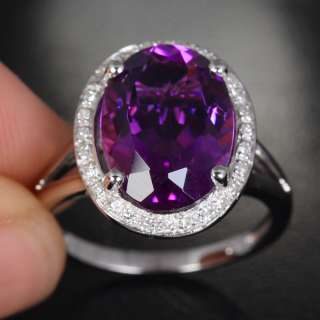 Purple AMETHYST PAVE DIAMOND 14K WHITE GOLD Halo Wedding RING