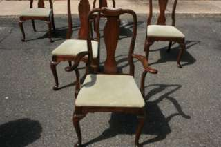 Set 6 Ethan Allen Georgian Court Cherry Queen Anne Dining Chairs w 2