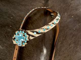 HORSE BRIDLE WESTERN LEATHER HEADSTALL TURQUOISE CROSS BARREL RACING