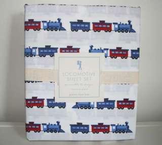 Pottery Barn Kids LOCOMOTIVE Train Sheet Set TWIN 3pc