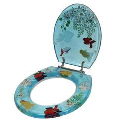 Transparent Blue Goldfish Toilet Seat