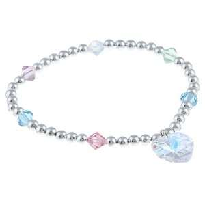 Crystale Silverplated Pastel colored Crystal Heart Stretch