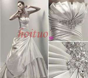 Custom White/Ivory Amazing Beading Wedding prom Dress size 6 8 10 12