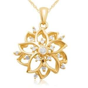 10k Yellow Gold Diamond Flower Pendant (1/20 cttw, I J Color, I2 I3