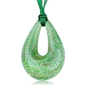 Murano Glass Pale Green White Droplet Pendant Necklace