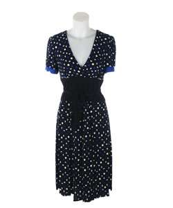 Sandra Darren Blue and White Polka Dot Dress