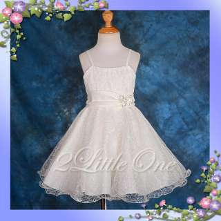 Flower Girl Wedding Pageant Dress Party Occasion Communion Ivory Size