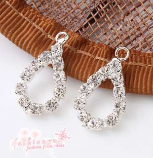 Lots 30 Pcs Silver Plate Cute Clear Rhinestone Lap Water Drop Charm