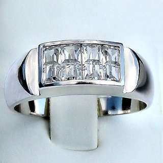 4ct Mens Hidden Setting Russian Ice CZ Band Ring s 13