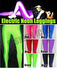 80s Disco Rave Green Opaque Glossy Shiny UV Lycra Spandex Leggings