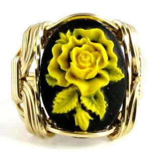 Yellow Rose Cameo Ring 14K Rolled Gold Jewelry
