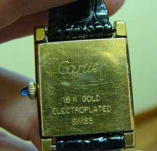 Vintage Ladies 18k EP Cartier Tank Watch Black Strap